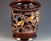 Vase/Luminaire With Dragonflies, Flowers, Slip Work, Tenmokoo glaze, Ready To Ship
