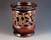 Vase/Luminaire With Dragonflies, Flowers, Piercing, Swirl Design, Slip Work, Grapes, Ready To Ship
