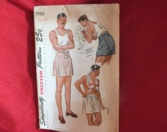 Vintage 1945 Simplicity Printed Pattern, #1960, Size 34, Mens Shorts, Simplicity Primer