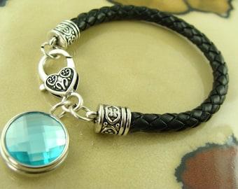 AQUAMARINE MARCH BIRTHSTONE crystal snap button on black leather silver bracelet