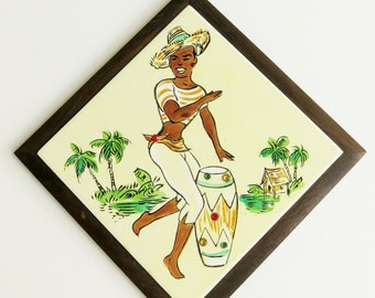 Vintage Hanging Wall Tile Kreiss & Company Wood Frame Girl Playing Bongo Drum Tropical With Colored Rhinestones 7 inches Square