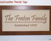 Engraved Leather Anniversary and Wedding Sign - GPS Sign, Family Name Sign, Bus Scroll Sign - Third Anniversary Gift