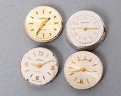 Set of 4 Vintage miniature watch movement, watch parts, watch faces, cases