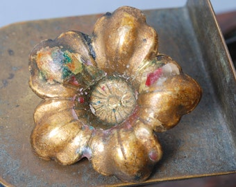 Antique brass plate, rosette, embellishment, floral decor, flower