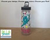 Personalized Clear plastic sport water bottle, Flip top w/ straw, 22 oz size, Gymnast, Gymnastics, gym, dance, leap, team, or other sport