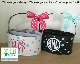 Personalized Desk organizer or Utensil holder, oval metal bucket, caddy, name or monogram or other design, teacher, baby gift, dorm room
