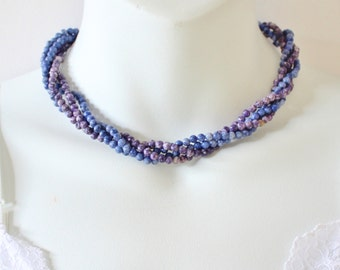 Vintage Double Two Strand Blue Purple Semi Precious Gemstone Speckled Stone Torsade Beaded Necklace with Goldtone Avon Clasp