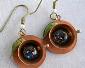 Tea Cup Earrings - Alices Tea Cup Earrings - Black Opal - REaDing Tea LeAves - Copper Tea Cup Earrings - Tea Leaves