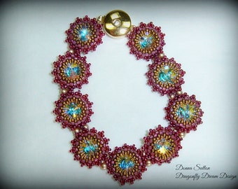 "This stunning little 7"" bracelet is a reflection of the warm sun shinning in a raspberry patch. The berries are sweet, full and ready"