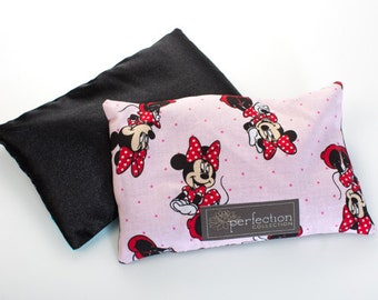 Sale!!! Mini Mouse Design with Black Satin Color, Flaxseed Filled Kids Feel Better Pillow. Hot and Cold Therapy