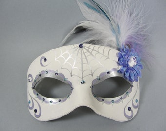 """Deluxe Silver """"Ice Princess"""" Leather Day of the Dead Masquerade Mask, OOAK"""
