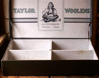 Vintage Men's Clothing Store Advertising Box - Traveling Salesman Suitcase - Taylor Woolens