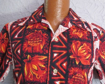50's Vintage Men's Tiki Drum Hawaiian Shirt sm/med