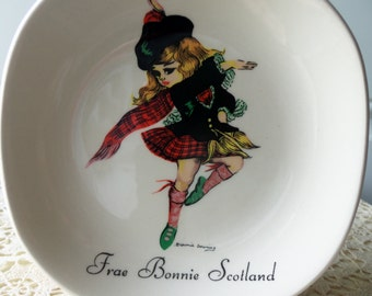 Brownie Downing Ceramic Dish - Collectible, J. H. Weatherby & Sons, Ltd., Signed and Stamped, Made in England, Vintage 1960s, Hand Painted