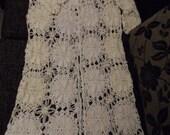 Crochet lace white and ivory long maxi boho bohemian hippie summer jacket coat cardigan