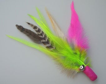 Cat Toy Bright Pink and Lime Green Feather Flier with Catnip and Bell