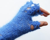 RESERVED for Mary-Margaret - Sapphire Blue Fingerless Gloves, Blue Lace Wrist Warmers, Hand Knitted Arm Warmers, Blue Fashion Sleeves