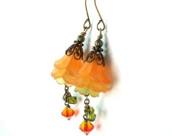 Orange green flower crystal earrings - lucite flower layered earrings, antiqued brass, Austrian crystal chain dangles, flower jewelry