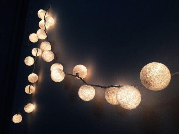 snow white cotton ball string lights for patioweddingparty. Black Bedroom Furniture Sets. Home Design Ideas