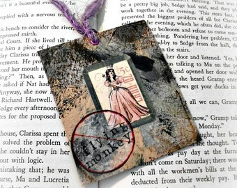 Flying Monkey Upcycled Bookmark Wizard of Oz, Handmade Eco Friendly Bookmark, Painted Bookmark, Art Design, Acrylic Paint Bookmark, Gift Tag
