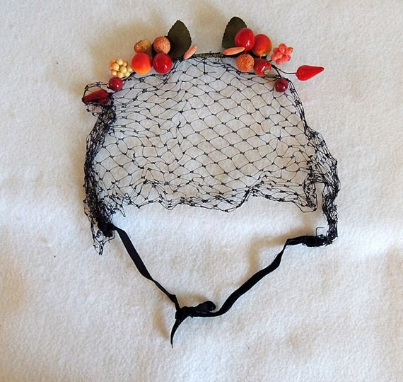 Vintage Millinery Fruit Fascinator Hat With Net Ties..  Hair Accessory