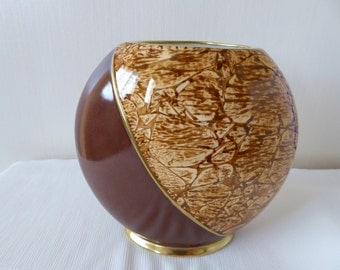 vase, hand painted vase, bone china vase, brown vase