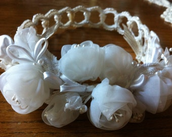 Vintage White Bridal Head Piece Hair Accessory Wedding White Retro Vintage Accessory Sexy Beads Pearls Seed Pearls