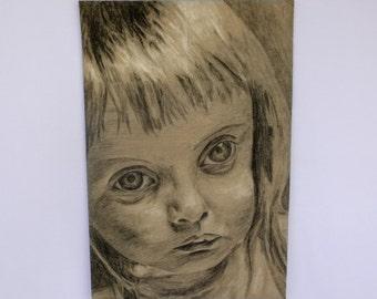 VINTAGE Original CHARCOAL PORTRAIT/ Keene-like Girl