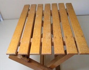 Vintage Slatted Wood Stool - Folds Up
