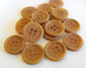 16 Tan Swirled Round Buttons Size 3/4""