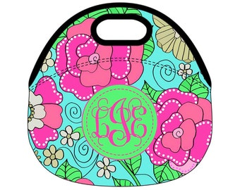 Monogram Lunch Bag, Monogrammed Lunch box, Personalized Lunch Tote, lunchbox, LP Inspired Floral