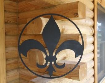 Fleur De Lis Wall Plaque Applique Black Wooden Interior Exterior Hanger Pediment