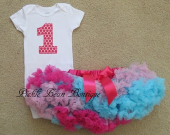 Pink Blue, 1st Birthday Girl Outfit, Bodysuit, Pettiskirt Tutu, Birthday Outfit, First Birthday Outfit, Baby Girls First Birthday Outfit
