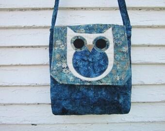 Owl crossbody bag, messenger bag, cotton batik