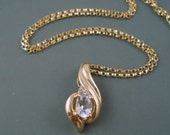 "Vintage 10K Gold Pendant with Diamond, Solid Not Plated Pendant on Gold Fill 16"" Chain"