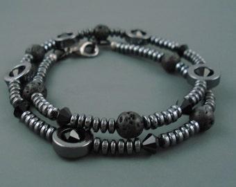 Hematite Bracelet, Wrap Black Bracelet, Sixteen Inch Hematite Black Choker