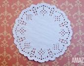 "25 white paper lace doilies, 5.5"""