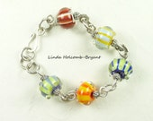 Bracelet of Stripe Lampwork Beads