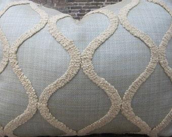 3BModliving Designer Pillow Cover - Boucle Trellis Light Blue & Tan - Lumbar, 16 x 16, 18 x 18, 20 x 20 , 22 x 22