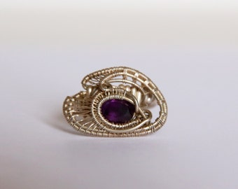 Handmade Amethyst Ring - Sterling Silver Wire Ring With Smooth Amethyst Gemstone - Ring Size 7