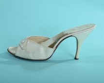 Vintage 1950s White Springolator Shoes - High Heel Stiletto - Bridal Fashions Size 8