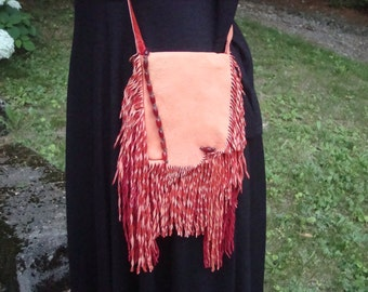 Cell Phone Bag made with Tangerine & Red Elk Hide Fringed Leather and Bead Embellishments