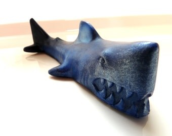 2 SHARKS SOAP SET, Set of 2, Great White Shark, Gray, Navy Blue, Aqua, or Slate Blue Shark, Novelty Soaps, Fish Soap, Party Favors