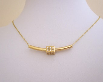 Yellow gold CZ cube BAR tube necklace, minimalistic geometric necklace