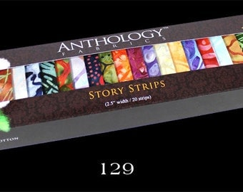 Anthology Batik Fabric Batik Story Strips, 5 Options No. 2