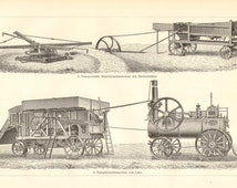 1904 Threshing Machines, Threshers, Steam-powered Thresher by Lanz Vintage Print