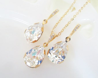 Bridal Jewelry Set,Crystal Bridal Set,Swarovski Teardrop Crystal,Wedding Jewelry Sets For Brides,Gold Bridal Jewelry,Bridesmaid Jewelry Set