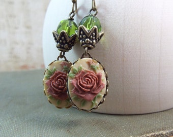 Olivine & Pink Rose Cameo Earrings - Modern Victorian by SPDJewelry