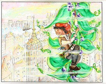 Jack & the Beanstalk, (Looking Over City), by Christine Mix, watercolor, copyright 2015