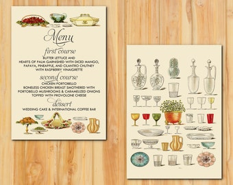 Vintage Buffet Wedding Menu 50qty , Mrs. Beeton Reception Menu, Personalized Wedding Table Setting Custom Designed, Unique Wedding